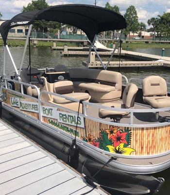 image of 18' pontoon boat with black canopy