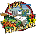 image of logo for Lake Adventures. Logo is a cartoon alligator holding a drink in front of a pontoon boat.